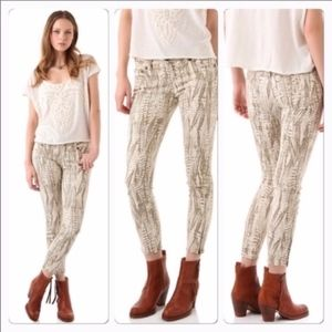 Free People Ankle-zip Feather Print Jeans